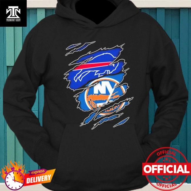 Buffalo Bills And New York Islanders Layer Under Ripped Shirt hoodie