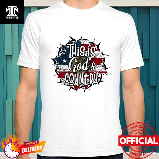 Official This Is God's USA Country American Flag Sunflower Shirt
